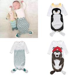 Wholesale Boys Animal Bedding - INS Mermaid Sleepsack Baby Boys Girls Shark Penguin Bear Sleepbags Children Bedding Swadding Newborn Sleeping Clothes