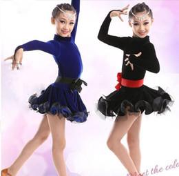 Wholesale Girls Fringe Costume - 2016 latino Dress For Girls Lace dance Vestido Dresses dance costume baile fringe dance dress kid latin dance dress