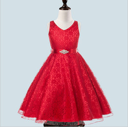 kids red evening gowns Coupons - Retail 2018 high grade summer ball gown wedding formal party evening princess dresses for girls kids sashes zirconia ankle length