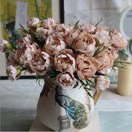 Wholesale Silk Mini Flower Heads - Wholesale- 1 Bouquet 8 Heads Pretty Wedding Mini Rose Artificial Silk Flower bouquet Flores Bride Home Decoration Cheap Fake Peony Flower