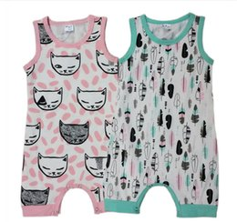Wholesale New Age Clothing - Cartoon fox head baby summer leotard 2016 new feathers Romper children aged 0-3 boys sleeveless climb clothes in stock 4pcs A33