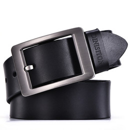 Wholesale Black Leather Belt 38 - cowhide genuine leather belts for men designer belts brand Strap male pin buckle fancy vintage jeans ceinture