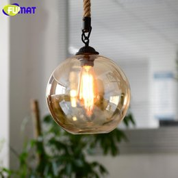 Wholesale Amber Glass Knobs - FUMAT Amber Glass Pendant Light Loft Bar Cafe Light Fixture Nordic Vintage Single Head Rope LED Pendant Lamp for Dinning Room
