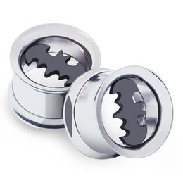 Wholesale Piercing Batman - Ear Expander piercing Stainless Steel Bat Batman Screwed Ear Expander Plugs hollow 6 Pair 6-16MM Ear plugs body piercings