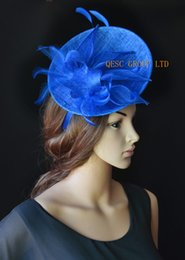 Wholesale Kentucky Derby Hats Royal Blue - NEW royal blue sinamay Feather NEW Fascinator hat with sinamay leaves for Tea garden Melbourne cup,Wedding.Kentucky derby,Races.