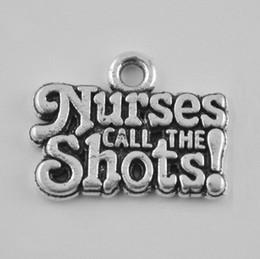 Wholesale Vintage Nurse - 50pcs Antique Silver Plated Letter Charms Nurses Call The Shots Vintage Message Charms AAC1103