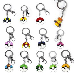 Wholesale Japan Gift Toy - 12pcs lot 3cm Poke Metal Pendant Pokete Ball Keychain Alloy Figures Japan Craft Hot Anime Collection Kids Gifts Toy