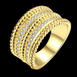 Wholesale Diamond Wedding Bands For Ladies - African Fashion Jewelry 18K Gold Rose Gold Plated Luxurious CZ Diamond Big Rings For Ladies Women Crystal Elegant Charm Ring