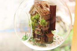 construir casa de vidrio Rebajas Al por mayor-bricolaje bola de cristal casa de muñecas Kits de construcción modelo de madera Mini casa de muñecas en miniatura hecho a mano regalo de cumpleaños de Navidad de juguete