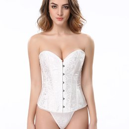 Wholesale Wedding Corsets Blue - Free shipping!! Sexy White Floral Tapestry brocade corset Lace Back With Thong Lingerie Wholesale Retail wedding corset 8148