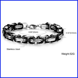 Wholesale High Polished Silver Link Bracelet - black and silver unisex fashion girl high polished 316L stainless steel bracelet