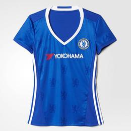 Wholesale Chelsea Jersey Shorts - 2017 Women Jersey Chelsea Home Blue Soccer Jerseys 2016 17 3rd White Away Gray HAZARD FABREGAS Football Shirt Chelsea Woman Shirts