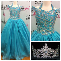 Wholesale Turquoise Blue Halter Pageant Dress - 2016 Pretty Girls Pageant Dresses Turquoise with Halter Neck and Crystals Details Real Photo Beading Ballgown Girls Birthday Gowns Custom