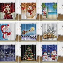 Wholesale Wholesale Bathroom Designs - 13 Design Christmas Shower Curtain Santa Claus Snowman Waterproof Bathroom Shower Curtain Decoration With Hooks 165*180cm WX9-107