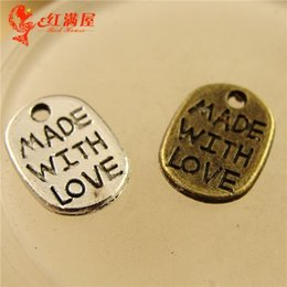 Wholesale Silver Bronze Charms - A1270 11*8MM Antique Bronze Retro card manual DIY silver jewelry accessories, MADE WITH LOVE word charms, message charm pendant beads