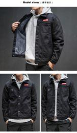 Wholesale Men Jeans Thickening - Handsome Denim Jacket Men Jeans Jacket Black Brown Camouflage Thicken Slim Hip Hop Outfit Brand Clothing Streetwear Warm Denim Jackets
