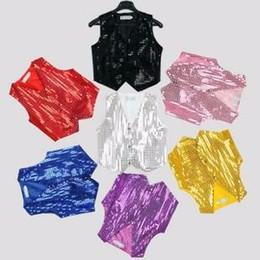 Wholesale Girls Shiny Spandex - Newest Stage Hip-hop sequin vest Girls boys solid color costumes Tops shiny dance party Vest 9colors for choose hot sale