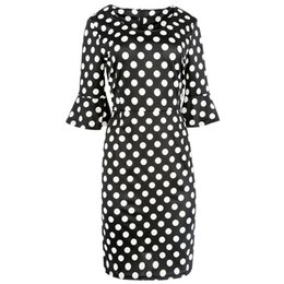 Wholesale Pinup Black White - Newest Womens Elegant Vintage Polka Dot Print 3 4 Flare Sleeve Tunic Pinup Wear To Work Office Casual Party Sheath Bodycon Pencil Dress