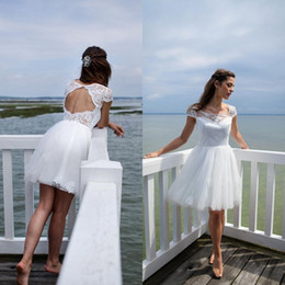 Wholesale Informal Beach Bridal Gowns - 2017 Sexy Short Beach Wedding Dress Cheap A Line Illusion Neck Capped Sleeves Lace Tulle Open Back Informal Bridal Gowns