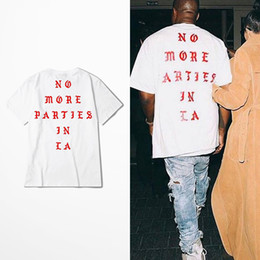 Wholesale New Men T Shirt - Kanye West New T Shirt NO MORE PARTIES IN LA T-shirts Short Sleeve White Tee Print tshirt BHYHDX0948XX