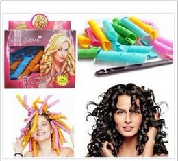 Wholesale Diy Hair Styling Tools - 18PCS Set Candy Color DIY Leverag Hair Curlers Tool Styling Rollers Spiral Circle Perm Retail Package