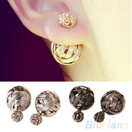 Wholesale Exotic Earrings - Exotic Stylish Statement Double Ball Earrings Metal Braided Hollow Studs Earrings for Women Fashion Female gifts