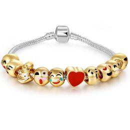 Wholesale Bangle Kid - 4 Styles DIY Beads Xmas Enamel Emoji Charm Bracelets For Kids Children Bangles For Women Pandora Style Jewelry