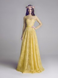 Wholesale Dress Eveni - High-end custom fashion sexy and charming 2017 Elegent Yellow Backless Long Sleeves Evening Dresses High Neck Floor Length Lace Formal Eveni
