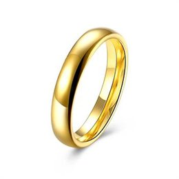 Wholesale 14k Gold Couple Rings - High quality 4MM 6MM 316L Titanium Stainless Steel Band Simple Golden Women Men Wedding Couples Ring TGR151-A-8