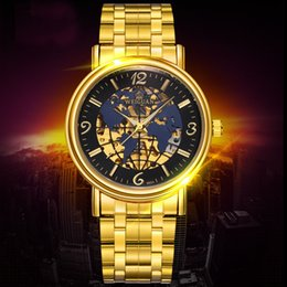 Wholesale Skeleton Watches For Mens - WEIGUAN Automatic Mechanical Waterproof Gold Watch for Man Casual Luxury Brand Sport Watch Fashion Global Map Dial Skeleton Watch for Mens