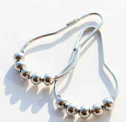Wholesale Stainless Steel Shower Rollers - Fashion Hot Polished Satin Nickel 5 Roller ball Shower Curtain Rings Curtain Stainless Steel Hooks DHL Free 3000pcs