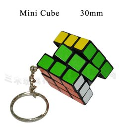 Wholesale Mini Key Chain Cube Toys - 30mm Puzzle Key Chain Hand Spinner Brain Intelligence Games Mini Magic Cube Key 3x3x3 Three Layers Cube Puzzle Cubo Magico Toys