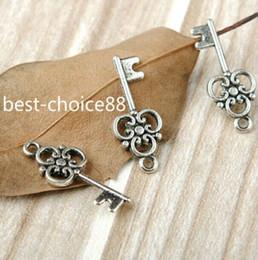 Wholesale Tibetan Key Charms - 200Pcs Tibetan Silver Key Charms Pendant For Jewelry Making 23x10mm