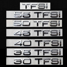 Wholesale Fsi Audi - DIY 30 35 40 45 50 55 FSI TFSI quattro ABS Car Styling Refitting Emblem Badge 3D Sticker Discharge Capacity Mark for Audi