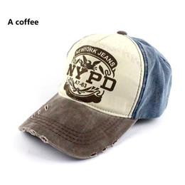 Wholesale Worn Baseball Cap - JOO YOUNG European and American fashion NYPD old baseball cap worn shading leisure peaked cap lovers