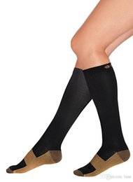 Wholesale Compression Socks Stockings - 50Pairs Miracle Copper Socks Anti Fatigue Copper Compression Socks Stocking New S M L XL Unisex For Sport With Retail Package