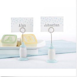 Wholesale Shower Baby Bottle - FREE SHIPPING+Classic Blue Baby Bottle Place Card Holder Baby Shower Favors Infant Baptism Party Decorations+100pcs LOT
