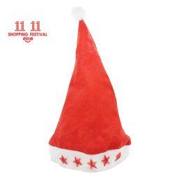 Wholesale Lighted Led Santa Hat - 11.11 Shopping Festival Led Flashing Christmas Hats XMAS Santa Claus'cap Light Up Caps Stars Non-woven Christmas hats Free Shipping