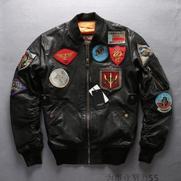 Wholesale Dallas Texas - Black AVIREX genuine leather Flocking sheepskin bomber jackets USS WILLIAMM STANDLE DALLAS TEXAS Embroidery flight bomber baseball suits
