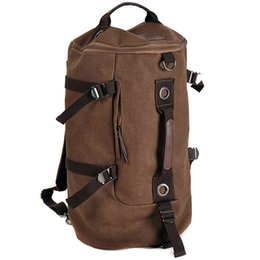 Wholesale Handbags Backpacks For School - Vintage Canvas Backpack Travel Bag bucket bag Men's handbag School Rucksack Large capacity Multifunctional backpack for computer