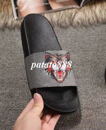 Wholesale Black Cat Slippers - classic fashion angry cat printing leather slide sandals slippers for mens and womens summer outdoor beach causal flip flops