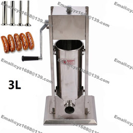 Wholesale Speed Crank - Free Shipping Commercial 3L Manual Hand Crank Stainless Steel Restaurant Home Sausage Making Machine Stuffer Filler with 2 Speed Options