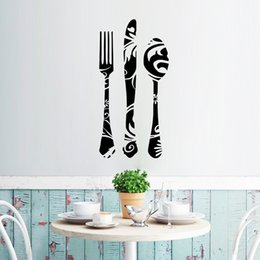 Wholesale Texture Pvc - Black Fork Knives Spoon with Texture Wall Stickers Window Glass Decor Wall Applique