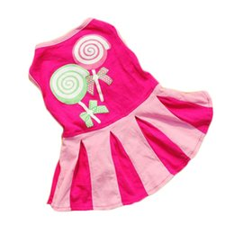 Wholesale Small Cotton Doggie Clothes - Generic Candy Heart Circle Pattern Puppy Dress Dog Doggie Apparel Clothes Hoodies Skirt Dress Free Shipping