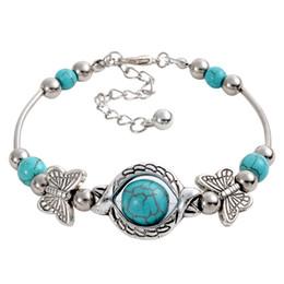 Wholesale Butterfly Turquoise Silver Bracelet - wholesale free shipping Turquoise bracelets fashion jewelry green turquoise butterfly charm bracelets retro bracelet silver plated TB0003