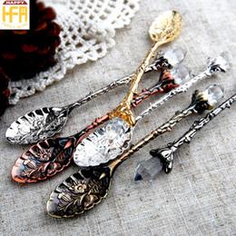 Wholesale Vintage Ice Cream Spoons - Crystal Dessert Spoon Vintage Pattern Little Metal Alloy Soup Spoon Coffee Sugar Cake Spoons Flower Embroidery Ice Cream Spoons