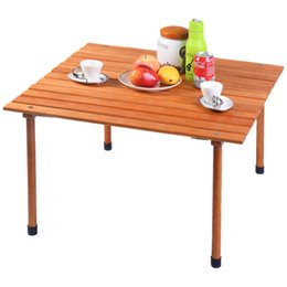 Wholesale Folding Tables Camping - Wood Roll Up Table Folding Camping Outdoor Indoor Picnic w  Bag