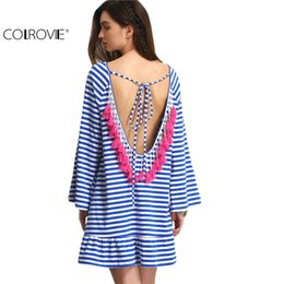 Wholesale White Shift Dress Long Sleeves - Wholesale- COLROVIE Sexy Striped Backless Tassel Straight Summer Style Dresses 2017 New Beach Women Long Sleeve White Shift Dress