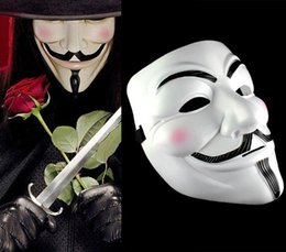 Wholesale Masquerade Masks For Guys - Halloween Party V For Vendetta Mask Guy Fawkes Anonymous Halloween Costumes Fancy Ball Masquerade White Yellow PVC Masks