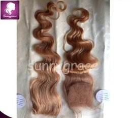 Wholesale Medium Top Hair Piece - Body wave Malaysian hair extensions top closure 4*4 free part 2 pieces a lot cheap price